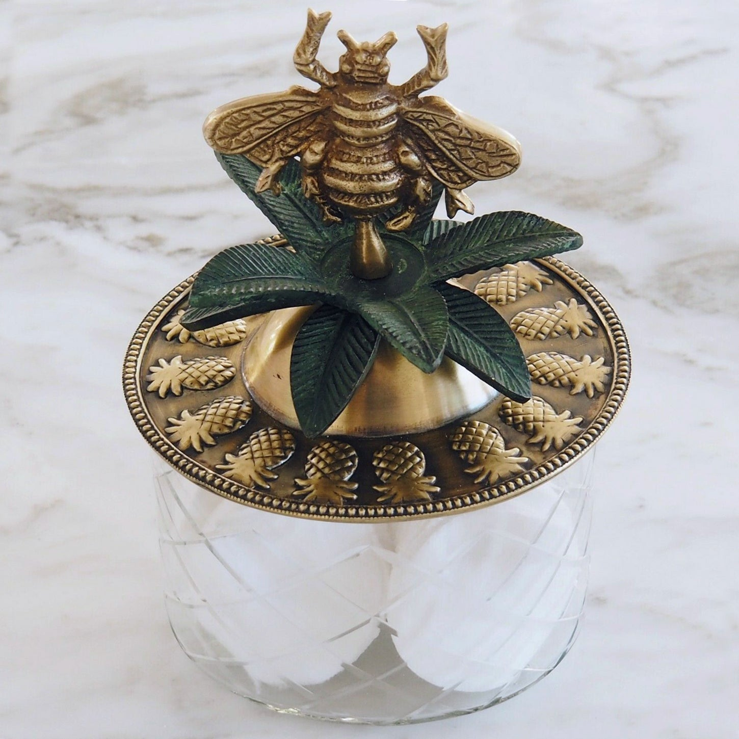 Brass Queen Bee on Etched Glass Box