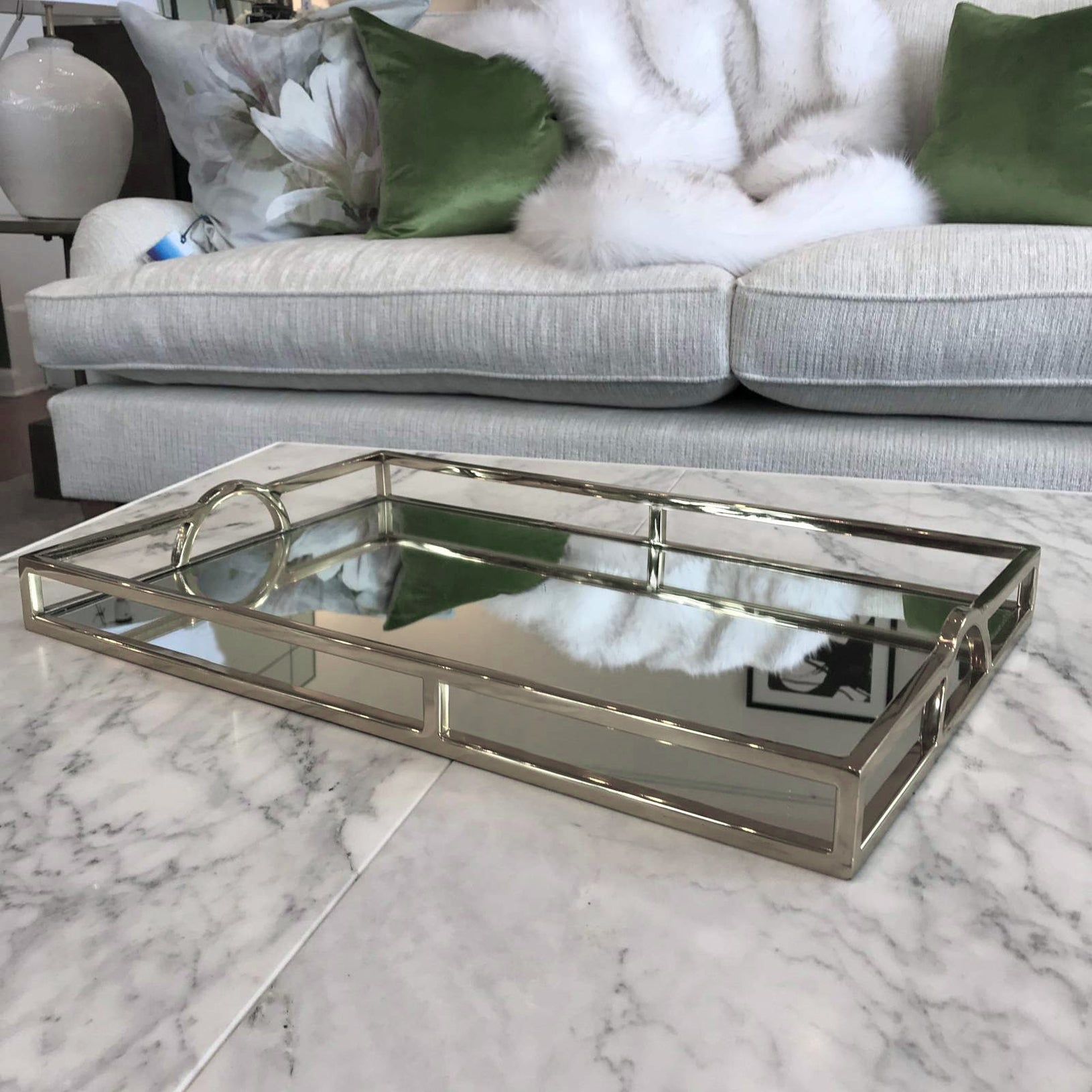 Rectangle Arch Handle Mirror Tray