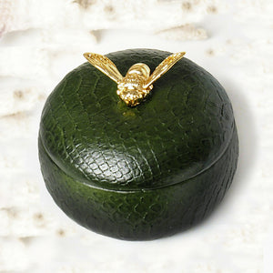 Round Olive Green Bee Box