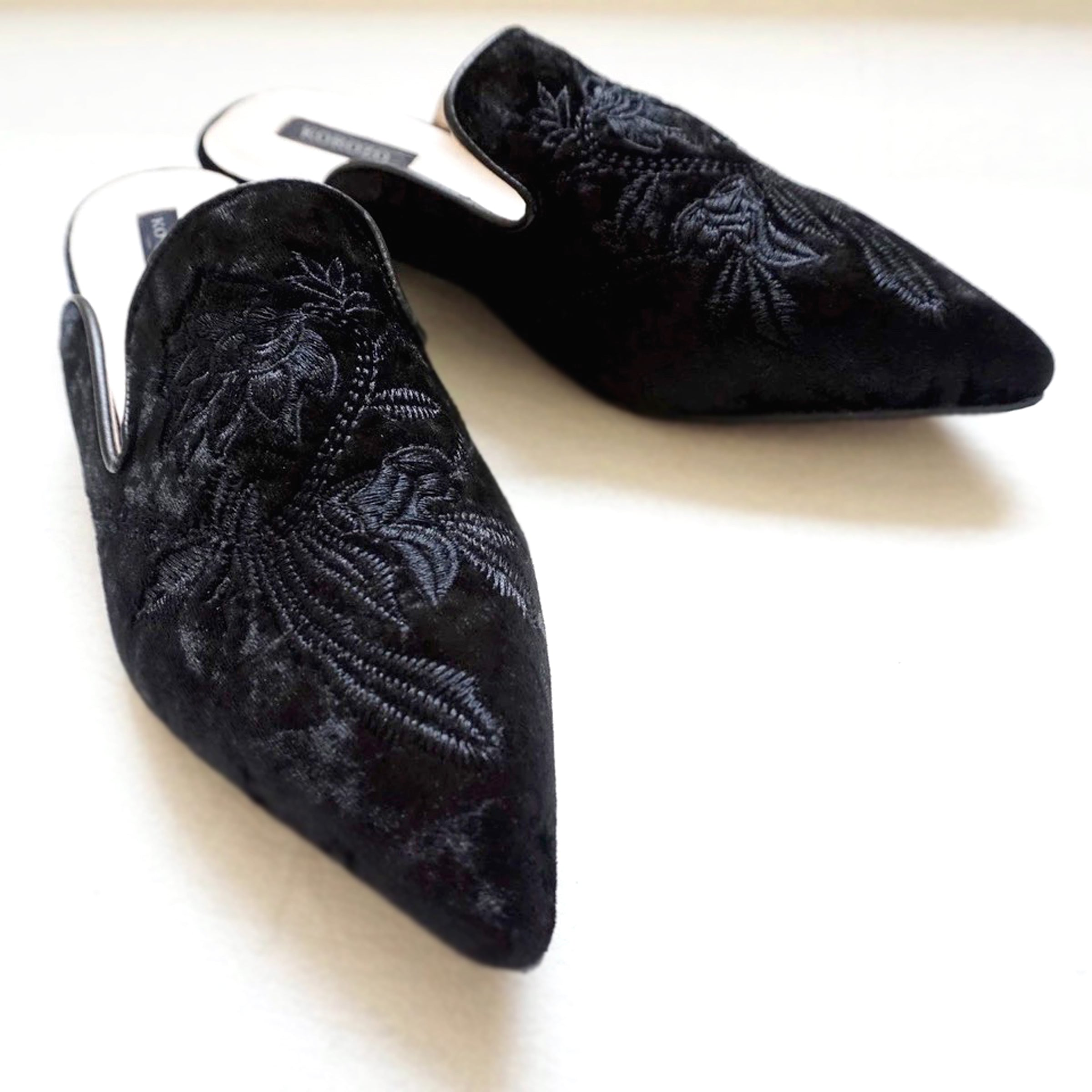 Tara Black Flower Embroidery Mules