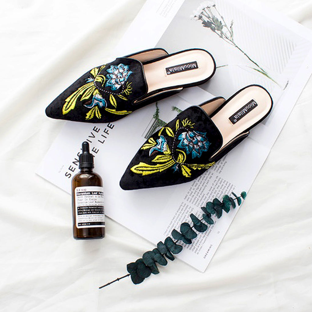 Tara Blue Flower Embroidery Mules