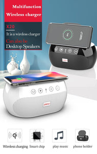 Multifunctional vertical mobile phone wireless charger with Bluetooth speaker
