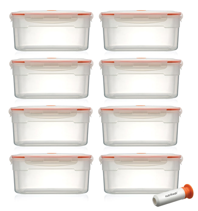 Nutrifresh To Go Set of 8 Vacuum Containers 3.5L with Pump