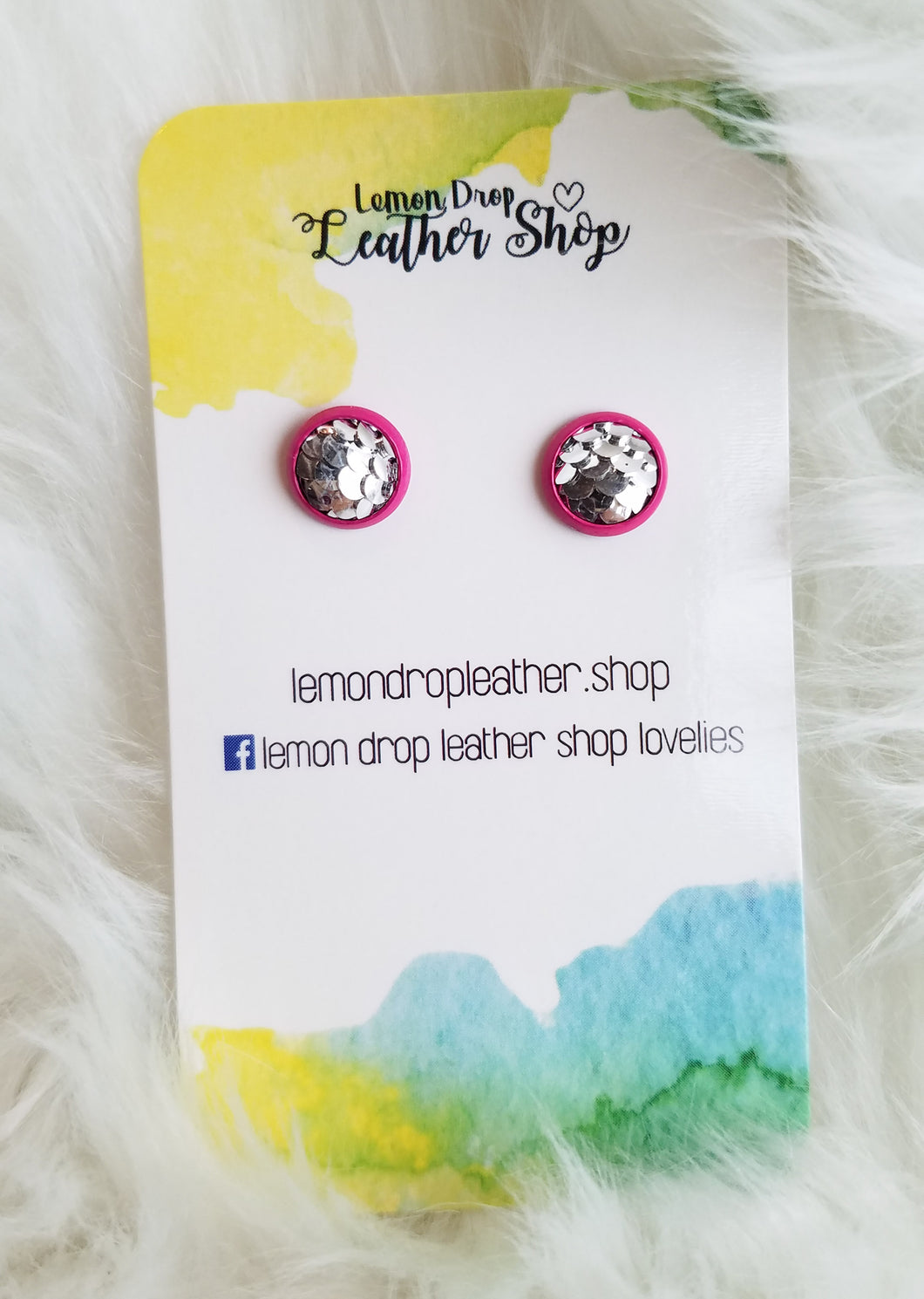 Silver Mermaid Stud in pink setting 8mm