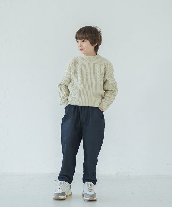 Knitted Denim Tapered Pants
