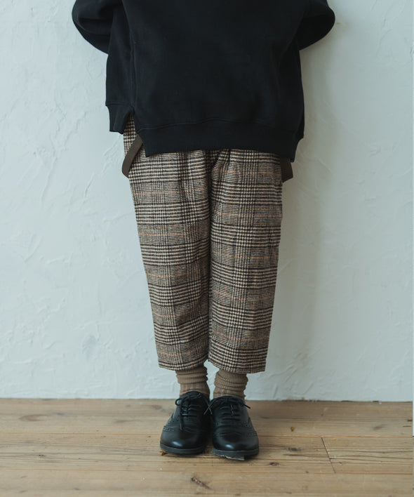 Glen check tapered pants with suspenders