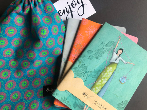 Notebooks in bag (Turquoise)