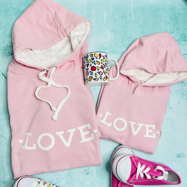 NEW LOVE CONTRAST HOODIE ADULTS + KIDS