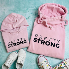 PRETTY STRONG HOODIE ADULTS + KIDS in PINK/GREY