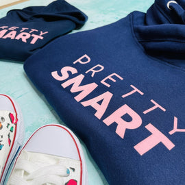 PRETTY SMART HOODIE ADULTS + KIDS in NAVY/PINK