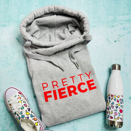 PRETTY FIERCE HOODIE ADULTS + KIDS in HEATHER GREY/NEON ORANGE
