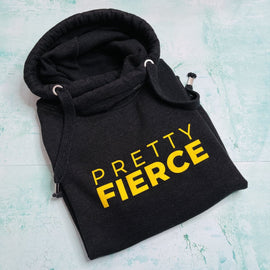 PRETTY FIERCE HOODIE ADULTS + KIDS in BLACK/YELLOW