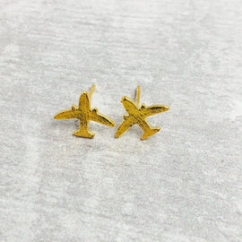 airplane earrings gold