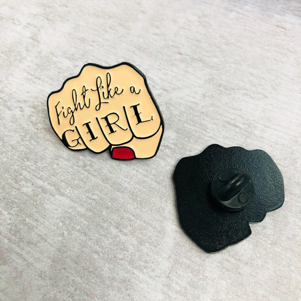 Fight like a girl pin