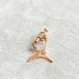 Microscope pin Rose Gold Plated with crystals