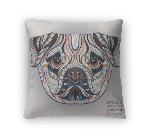 Throw Pillow, Ethnic Patterned Dog