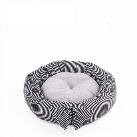 Cute Bow Round Pet Bed - Puptoria