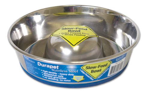 Durapet Stainless Steel Slow Feed Bowl - Puptoria