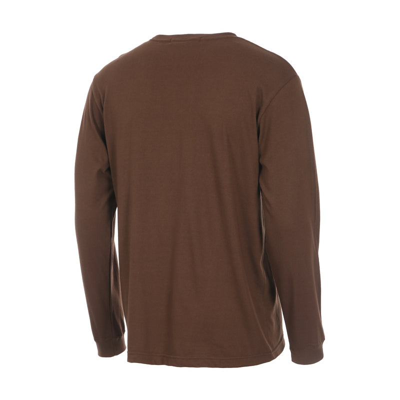 Desporte Long Sleeve 100% Cotton T-Shirt, DSP-T43L, Brown, Back View