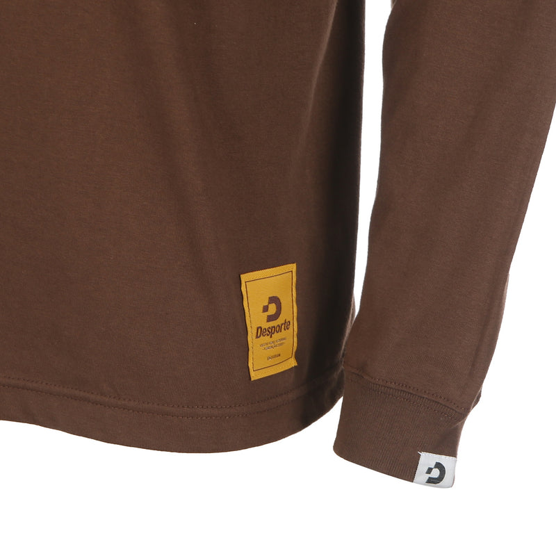Desporte Long Sleeve 100% Cotton T-Shirt, DSP-T43L, Brown, Logo Tag