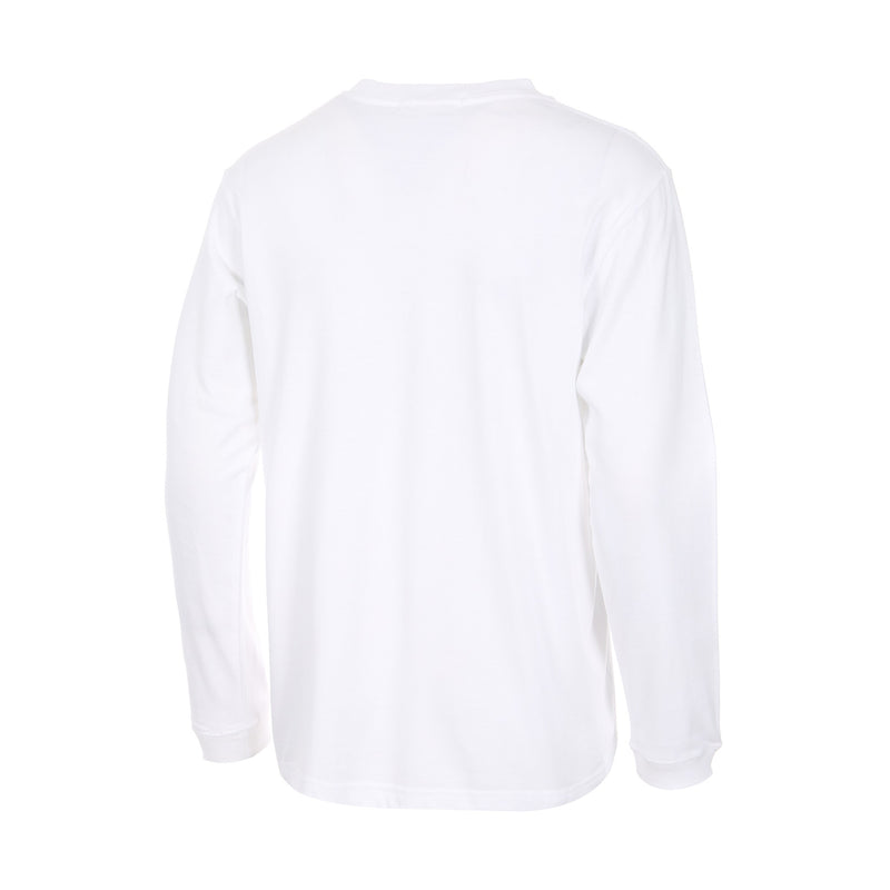 Desporte Long Sleeve 100% Cotton T-Shirt, DSP-T43L, White, Back View