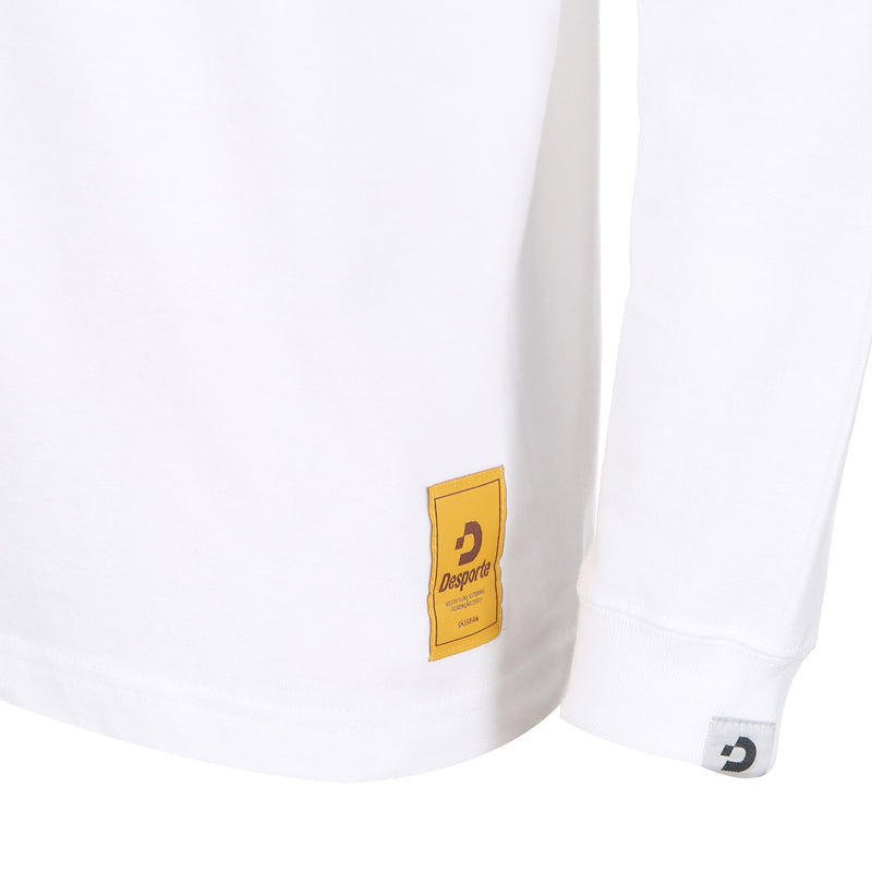 Desporte Long Sleeve 100% Cotton T-Shirt, DSP-T43L, White, Logo Tag