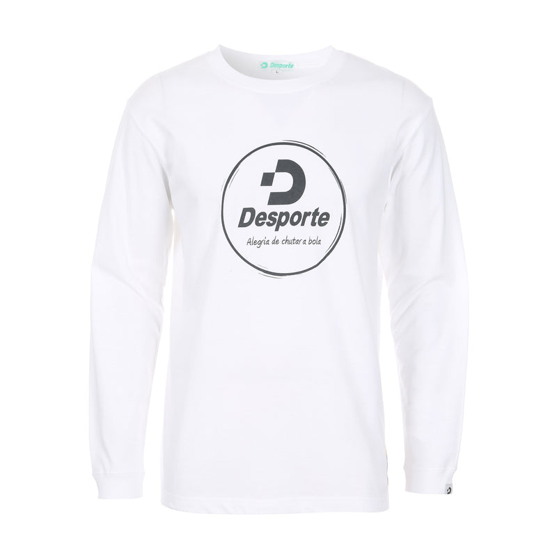Desporte Long Sleeve 100% Cotton T-Shirt, DSP-T43L, White