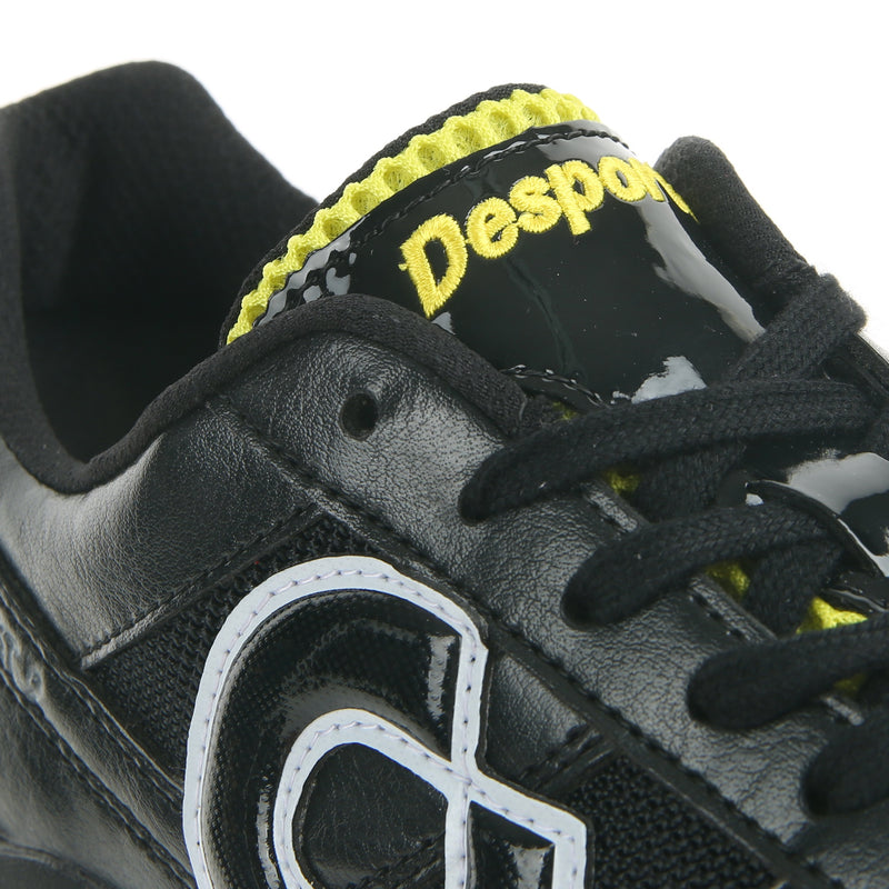 Desporte Sao Luis ST2 black/yellow turf shoes with a padded mesh tongue