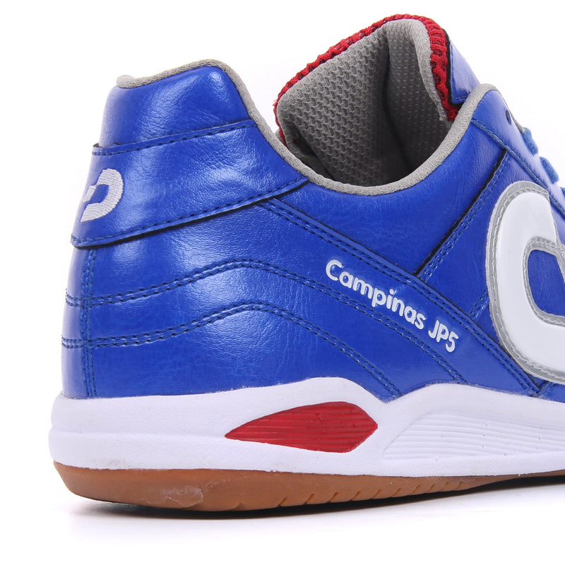 A heel of a blue Desporte Campinas JP5 futsal shoe