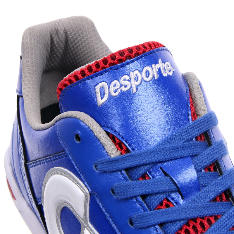 Tongue of a blue Desporte Campinas JP5 futsal shoe
