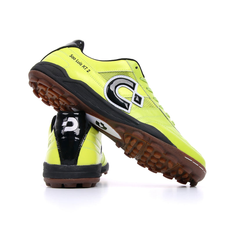 Chartreuse green Desporte Sao Luis KT2 turf shoes from behind
