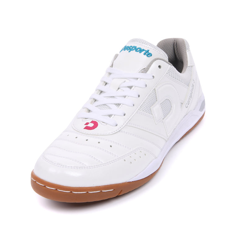 White Desporte futsal shoe with turquoise and pink logo
