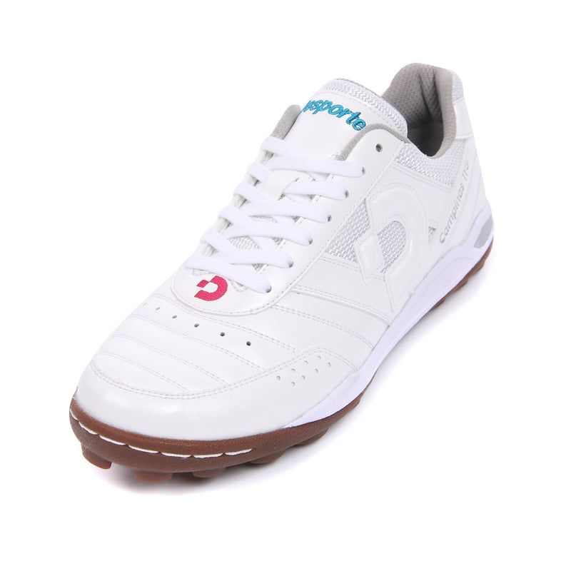 Desporte white football shoe with a turquoise and pink logo