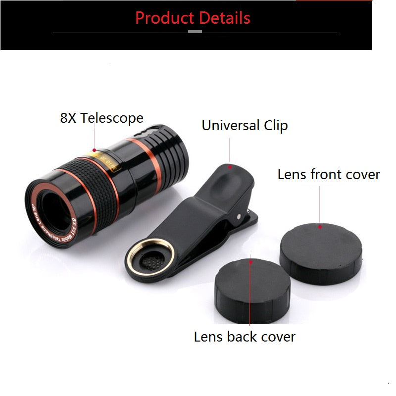 Optical Zoom Telescope Phone Lens Universal Clip