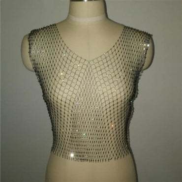 Bead Net Rhinestone Crop Top - Black V-neck / One Size