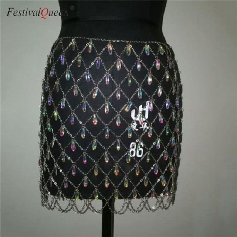Crystal Sequin Metal Chain Skirt