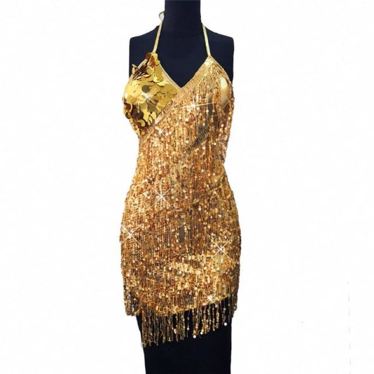 Dress with Sparkling Sequins - gold dress / One Size