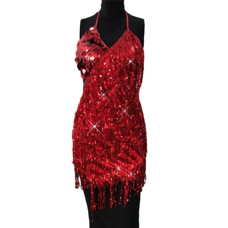 Dress with Sparkling Sequins - hong se / One Size