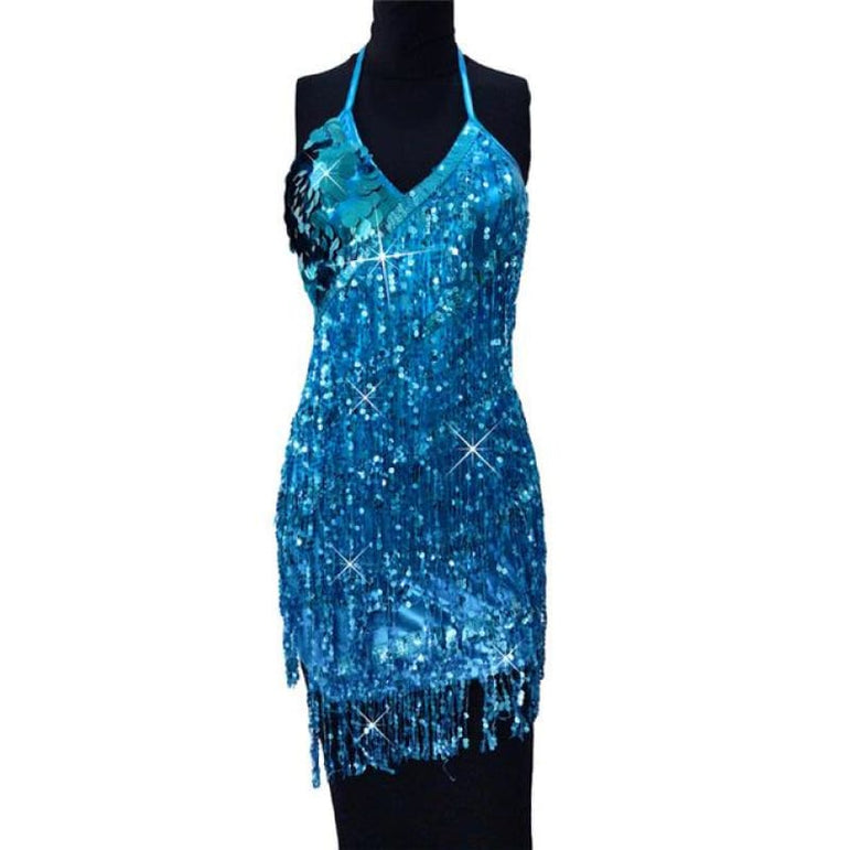 Dress with Sparkling Sequins - hu lan / One Size