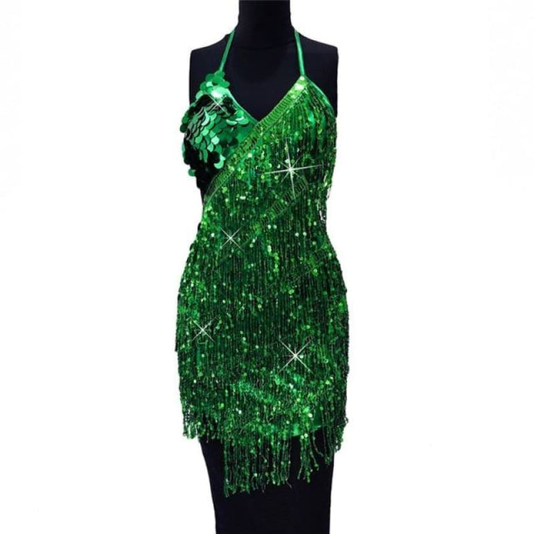 Dress with Sparkling Sequins - lv se / One Size