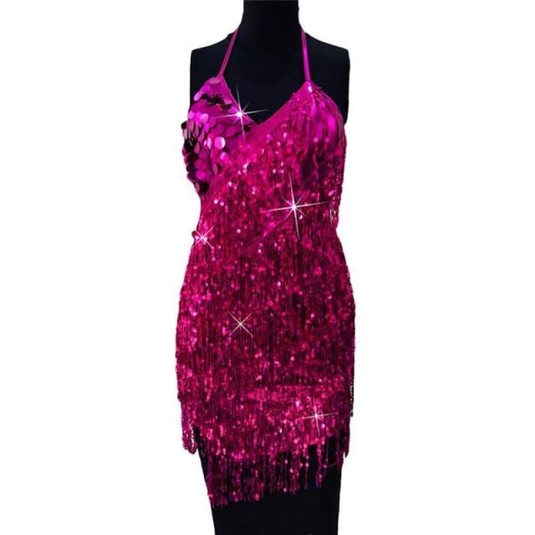 Dress with Sparkling Sequins - mei hong / One Size