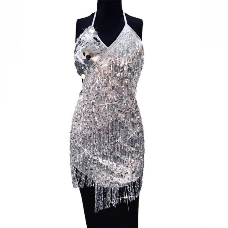 Dress with Sparkling Sequins - silver dress / One Size