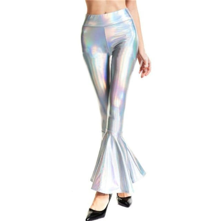 Flare Shiny Leggings - Silver Holographic / L