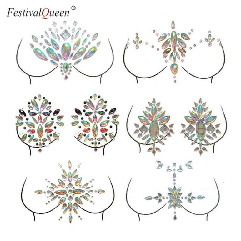 Glitter Tattoo Rhinestone Breast Stickers . - B1