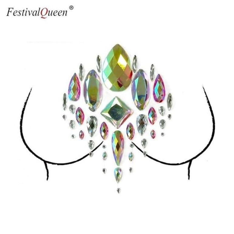 Glitter Tattoo Rhinestone Breast Stickers . - BLX06