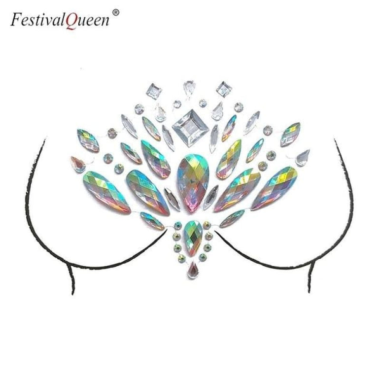 Glitter Tattoo Rhinestone Breast Stickers . - LBX-53