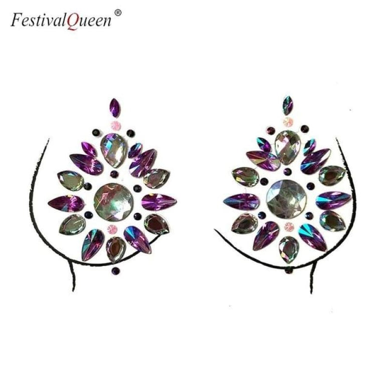 Glitter Tattoo Rhinestone Breast Stickers . - XBS-44zi