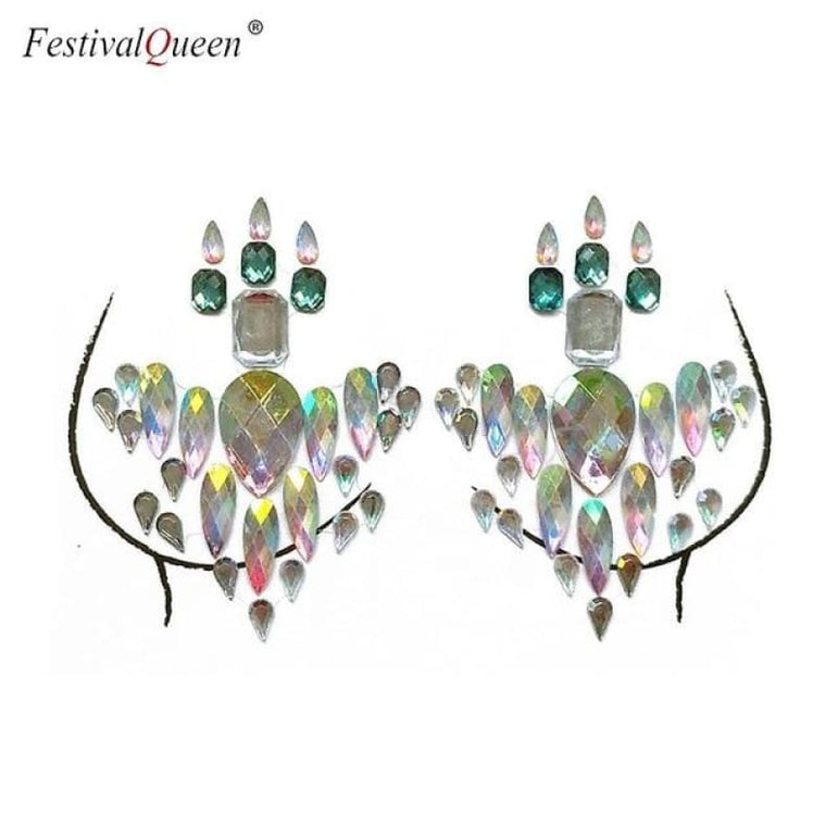 Glitter Tattoo Rhinestone Breast Stickers . - XBS-50