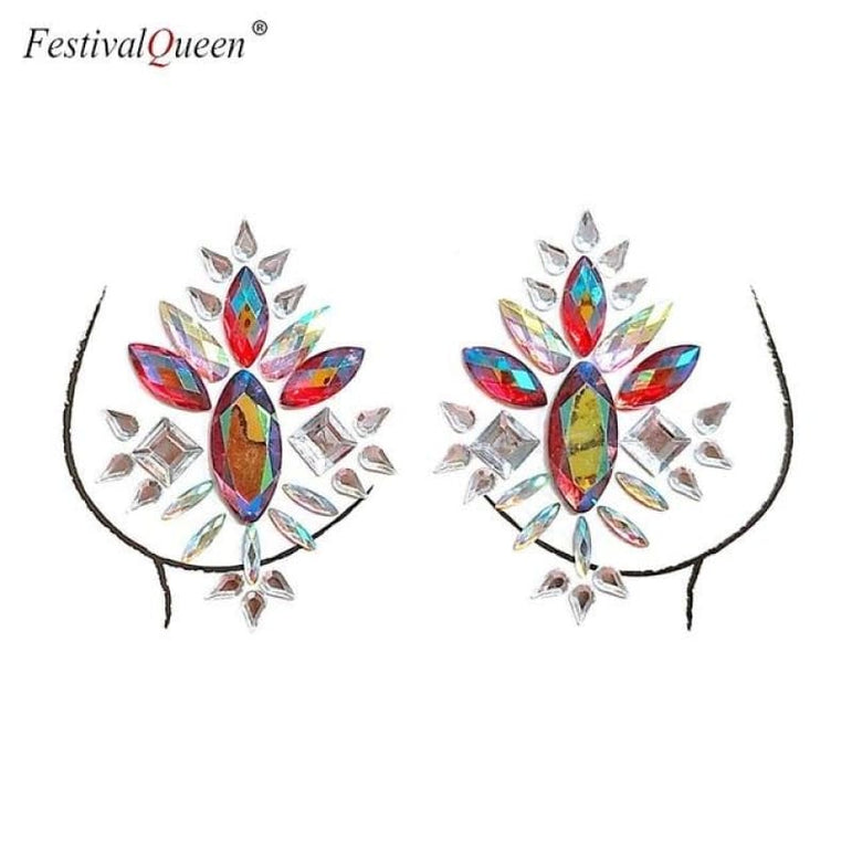 Glitter Tattoo Rhinestone Breast Stickers . - XBS-51hong