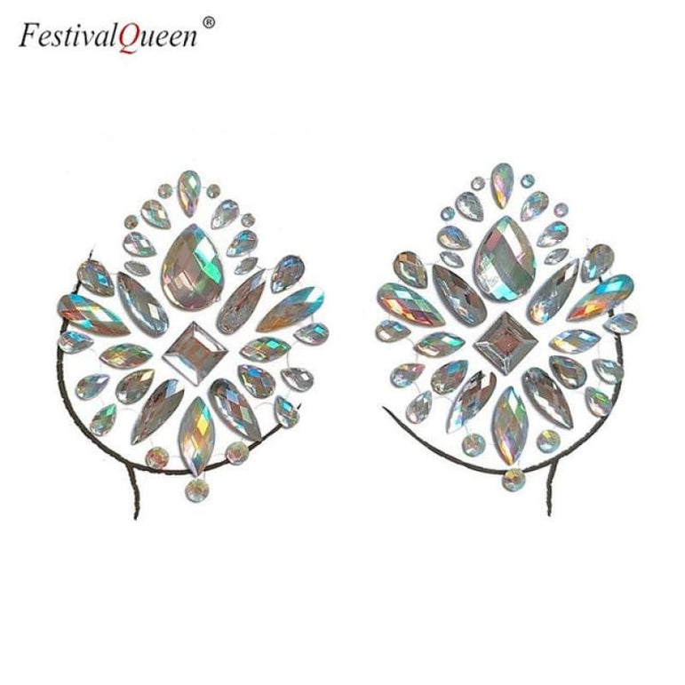Glitter Tattoo Rhinestone Breast Stickers . - XBS-52